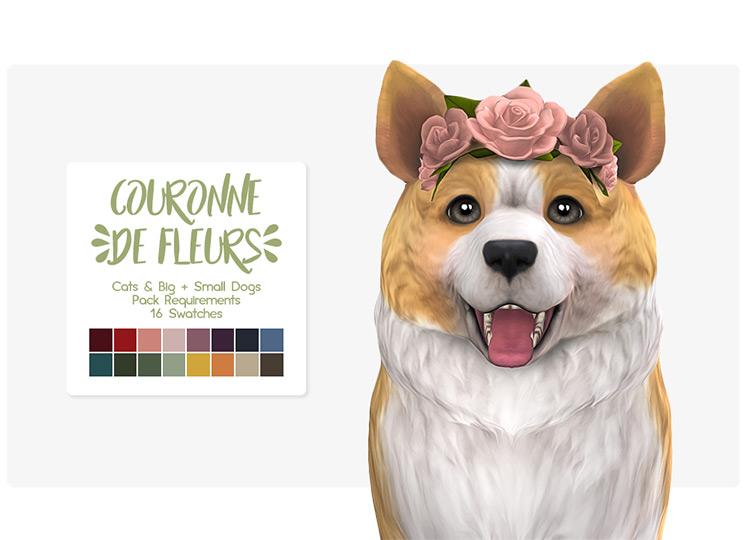 Couronne De Fleurs Pet Crown for The Sims 4