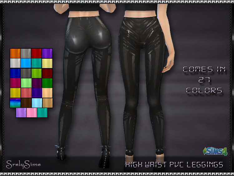 High Waist PVC Leggings Sims 4 CC