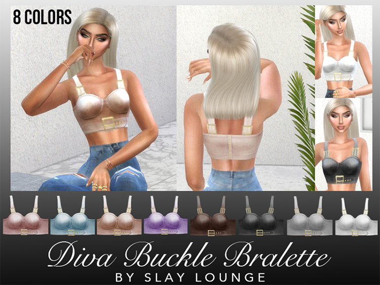 Diva Buckle Bralette Sims 4 CC