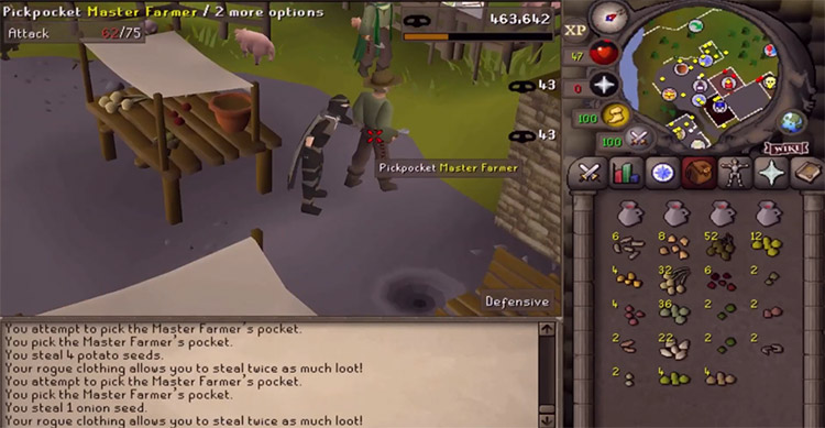Pickpocketing a master farmer in Old School RuneScape