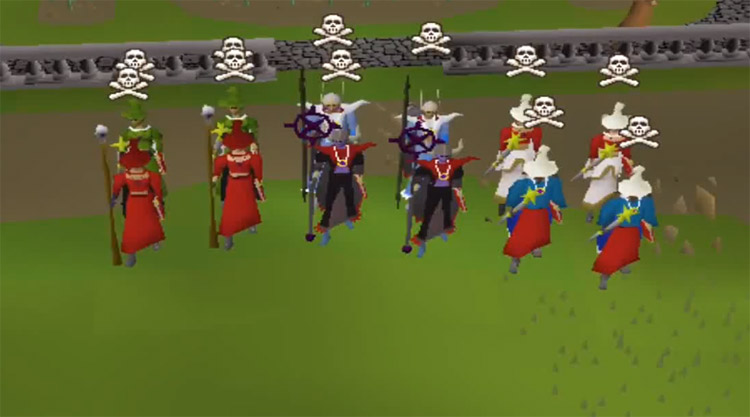 Multiple characters all skulled in Old School RuneScape
