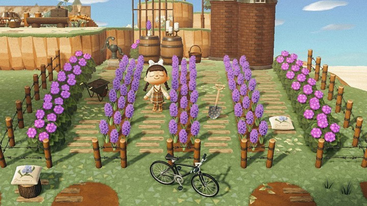 Basic purple flowers as a vineyard / ACNH Idea