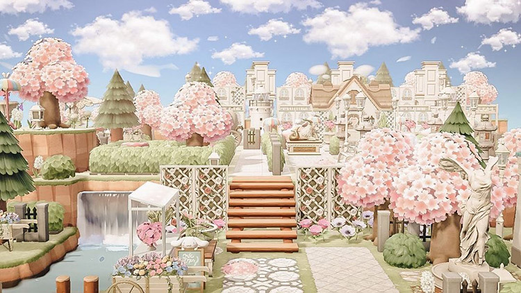 Pink and fancy neighborhood in ACNH