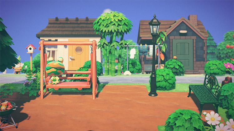 Tropical suburban area with park / ACNH Idea