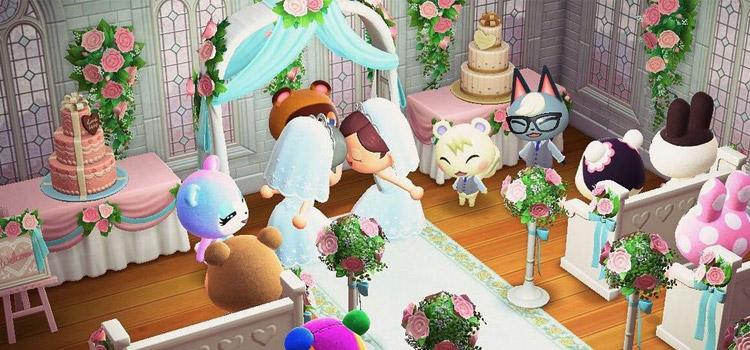 Indoor wedding with Raymond in Animal Crossing New Horizons