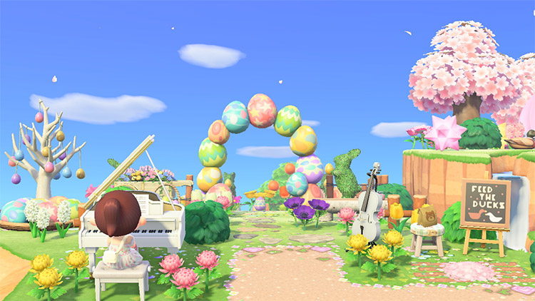 Easter-themed gay duck wedding design in ACNH