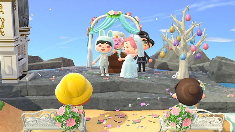 Beachside rocky wedding spot in ACNH