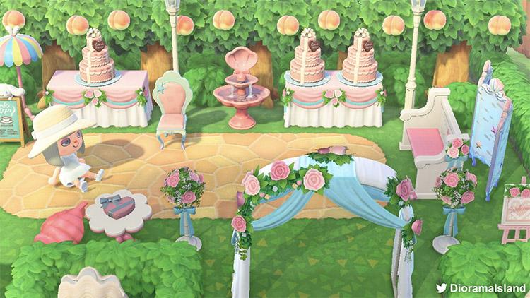 Wonderland colorful wedding idea in ACNH