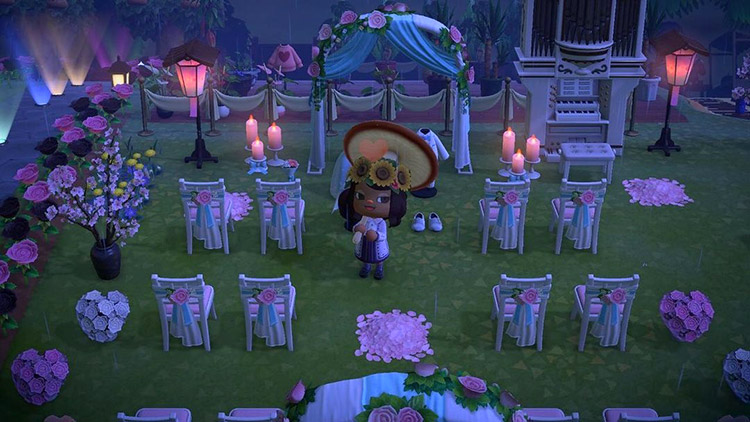 Nighttime wedding area with candles / ACNH Idea
