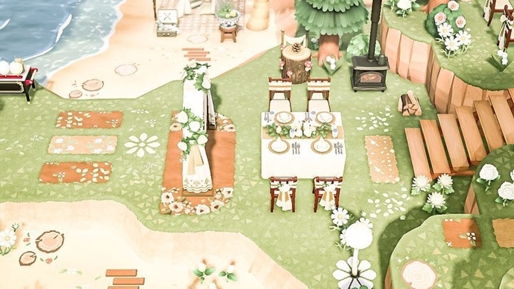 Sunny beachside wedding and reception in ACNH