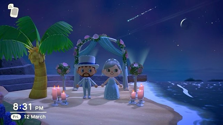 Nighttime elope wedding area in ANCH