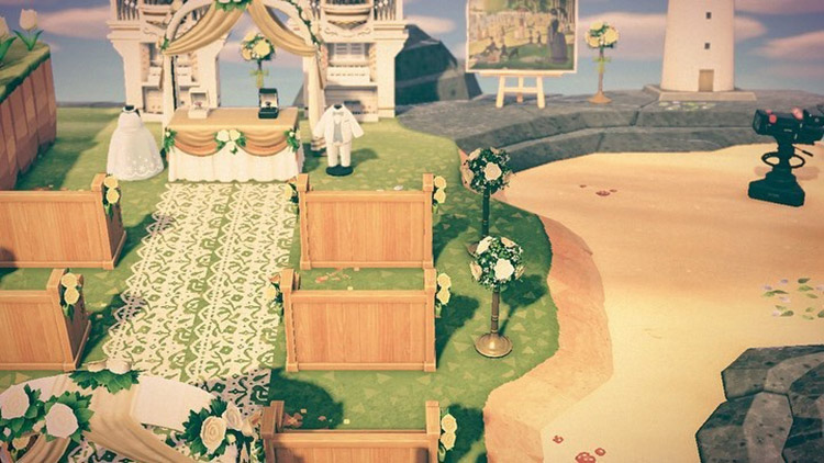 Wedding venue by the sand in ACNH