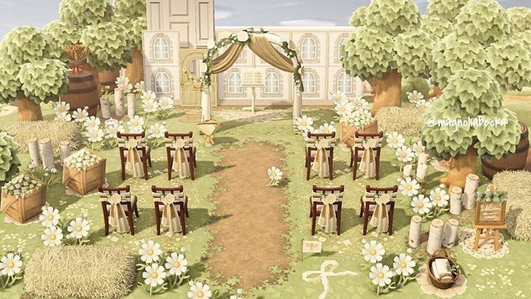 Bright cottagecore-style wedding area in ACNH