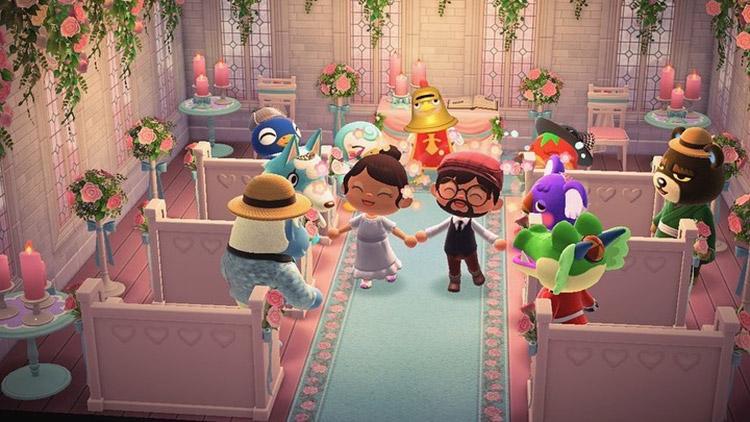 Wedding inside a chapel room in ACNH