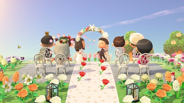 Bright springtime meadow-themed wedding area in ACNH