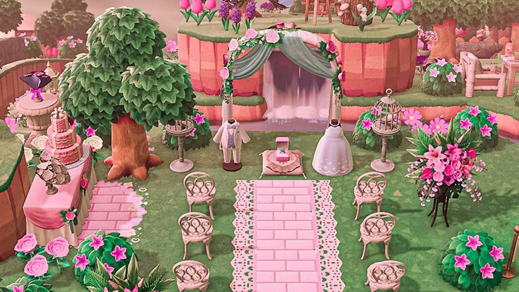 Pink wedding area with a waterfall in ACNH