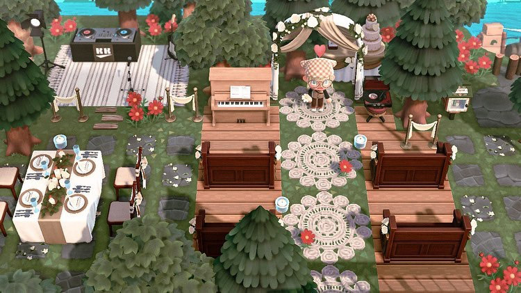 Forest-themed wedding and reception in ACNH