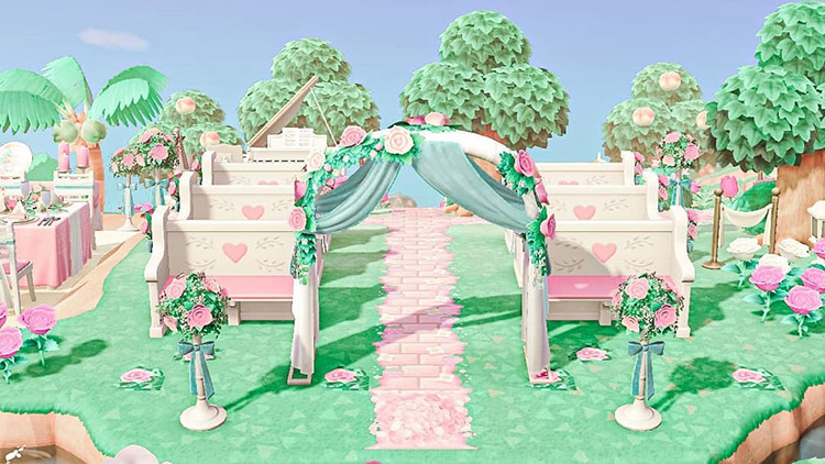 Bright pink tropical wedding area in ACNH