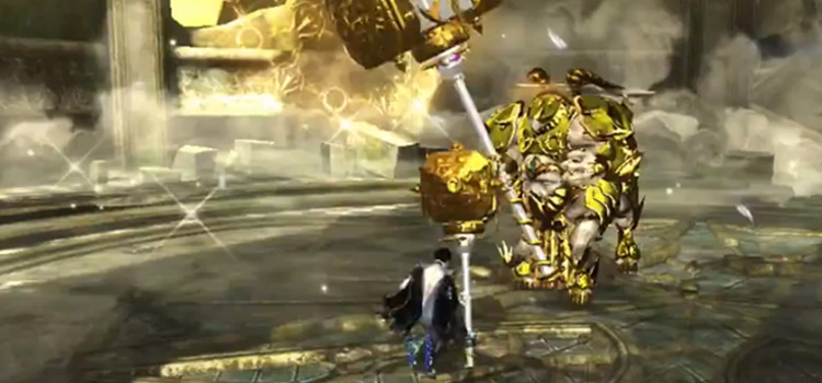 Bayonetta 2 battle scene screenshot