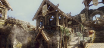 JKs town view in Skyrim, screenshot during the day