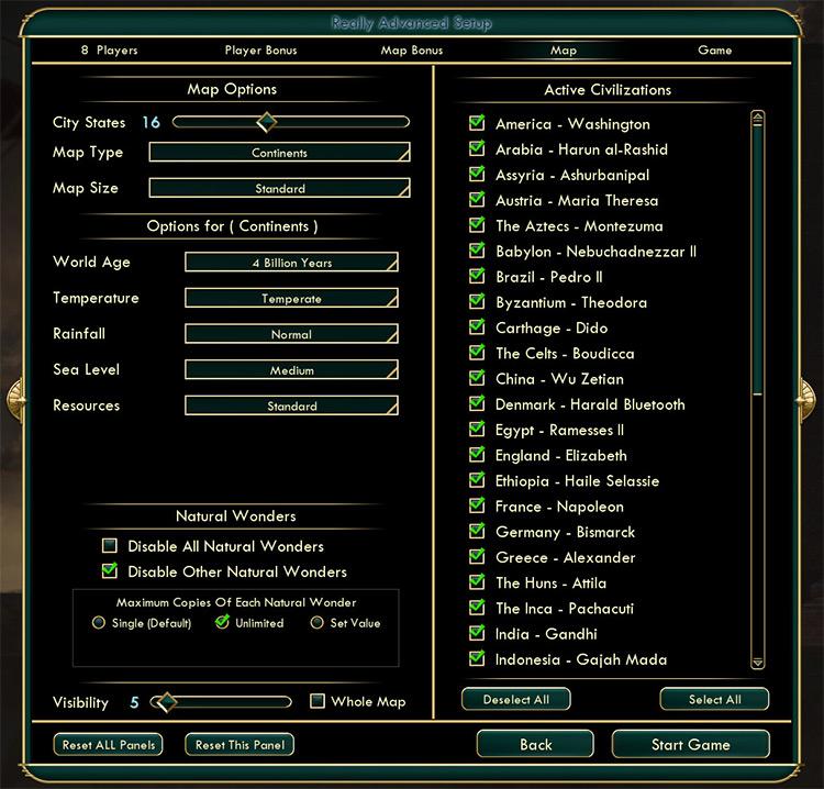 Really Advanced Setup Civ5 mod