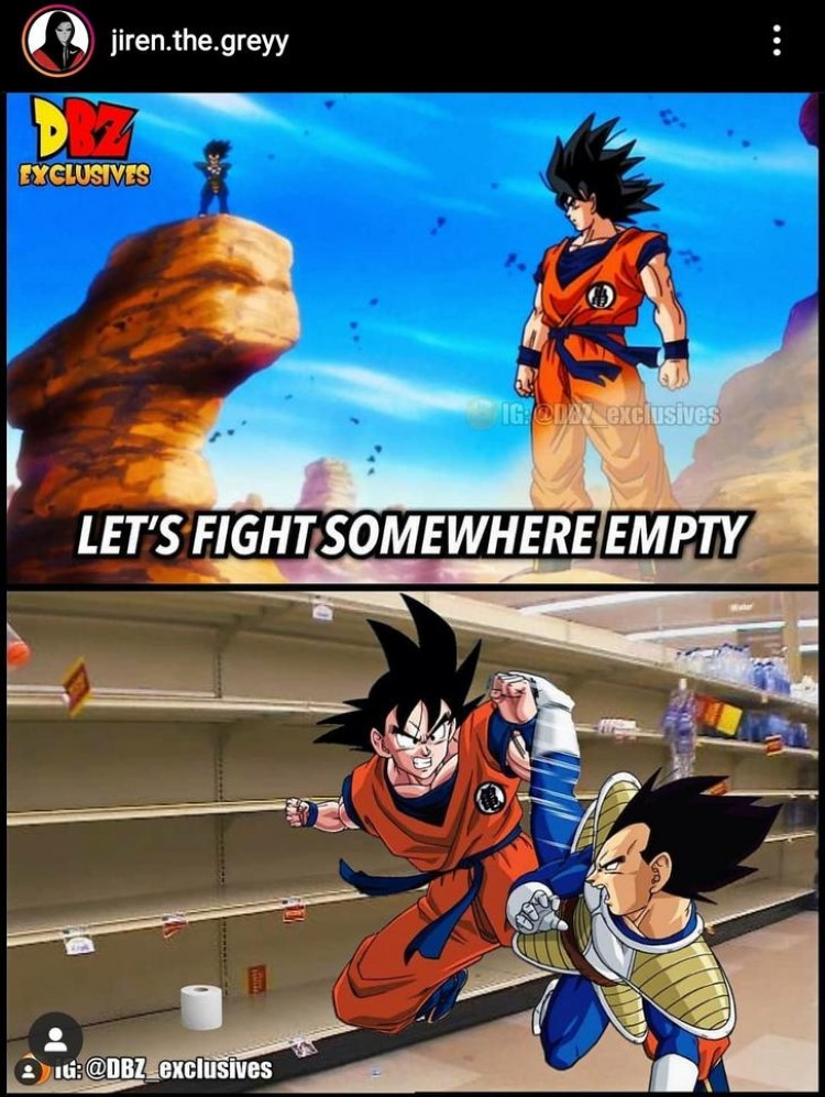 Goku Vegeta fighting grocery store
