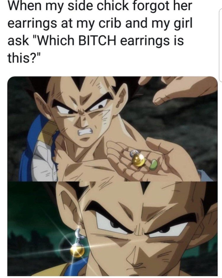 Vegeta wearing earring meme