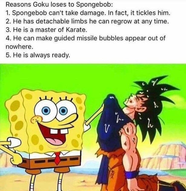 Spongebob fights Goku meme