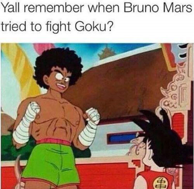 Bruno Mars fighting Goku meme