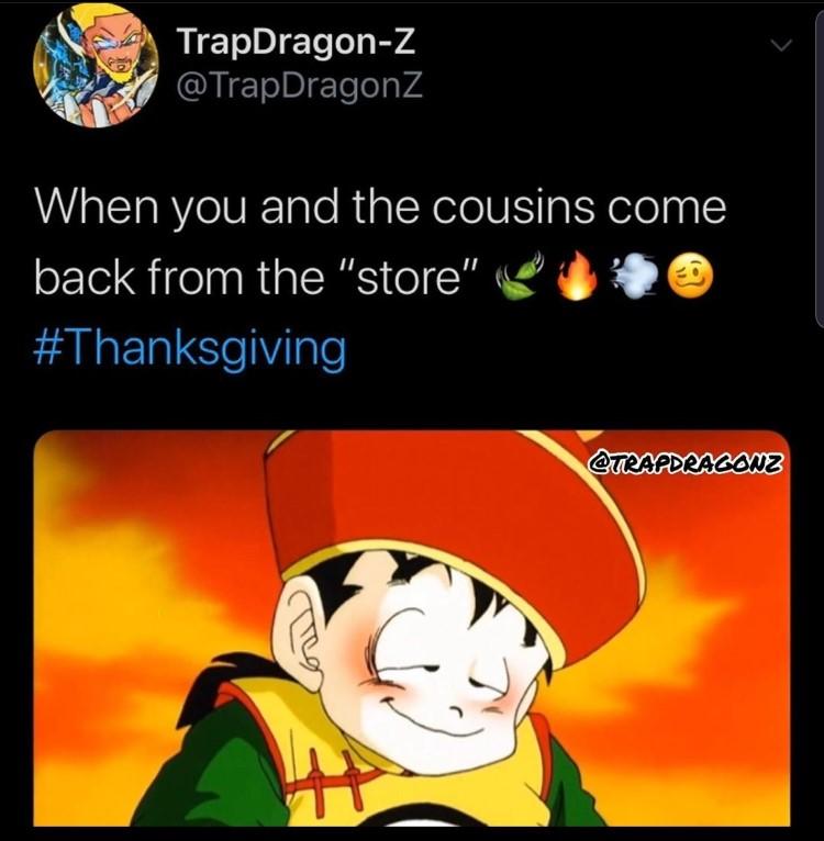 dbz Gohan meme high thanksgiving