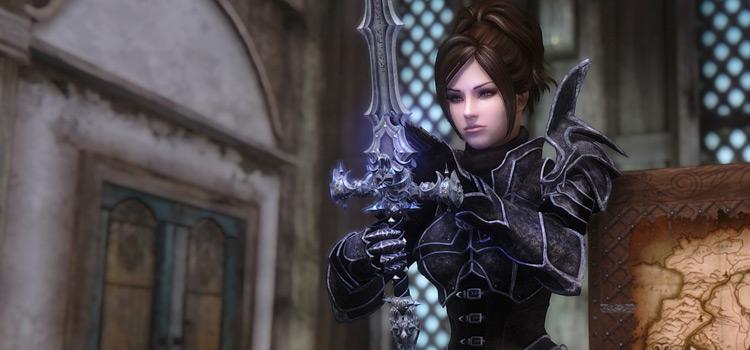Skyrim girl looking at sword enb