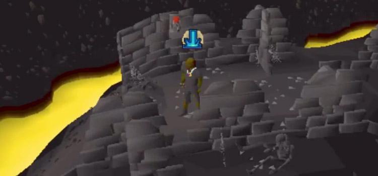 Dark dungeon interior in Old School RuneScape