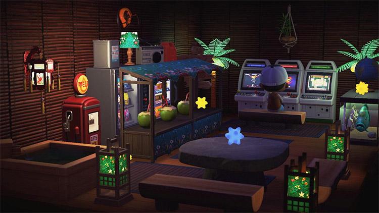 Tiki bar theme in basement / ACNH Idea