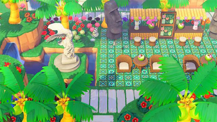 Updated green tiki bar area in ACNH