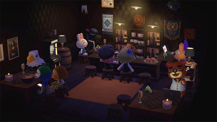 Bar full of villagers at night - ACNH Idea