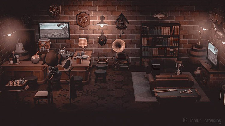 Indoor vintage pub area in ACNH
