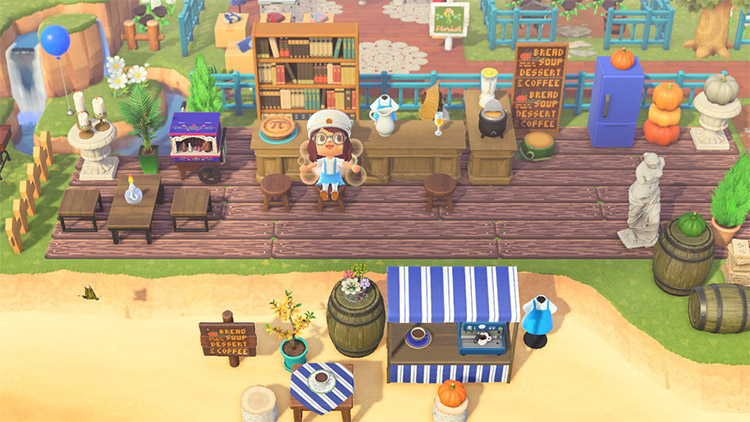 Custom outdoor oceanside bar in ACNH