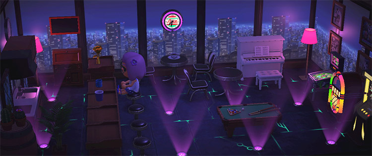 Nighttime indoor bar and lounge space / ACNH Idea