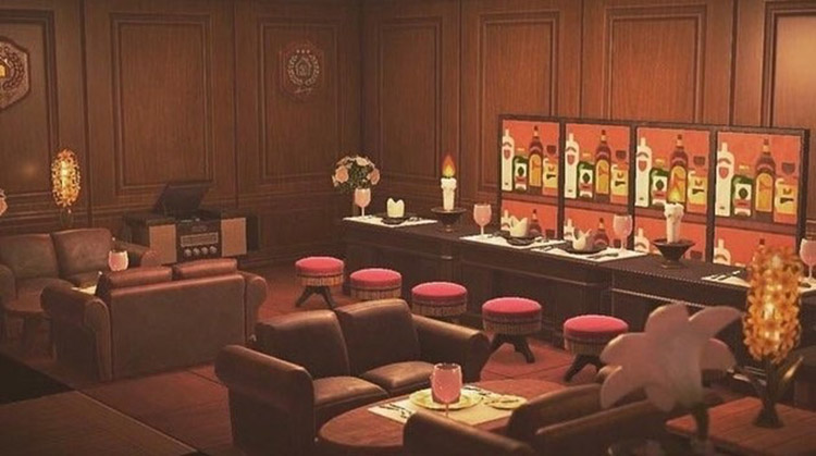 Elegant bright bar interior in ACNH