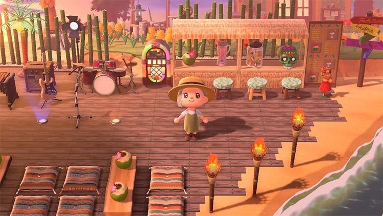 Bar on the beach with a music stage / ACNH Idea