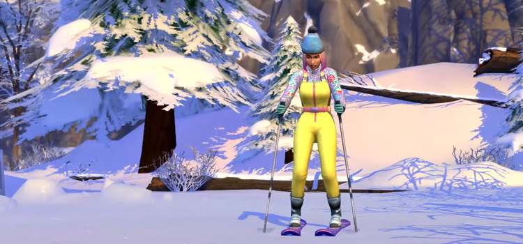 TS4 Character Skiing from Snowy Escapes