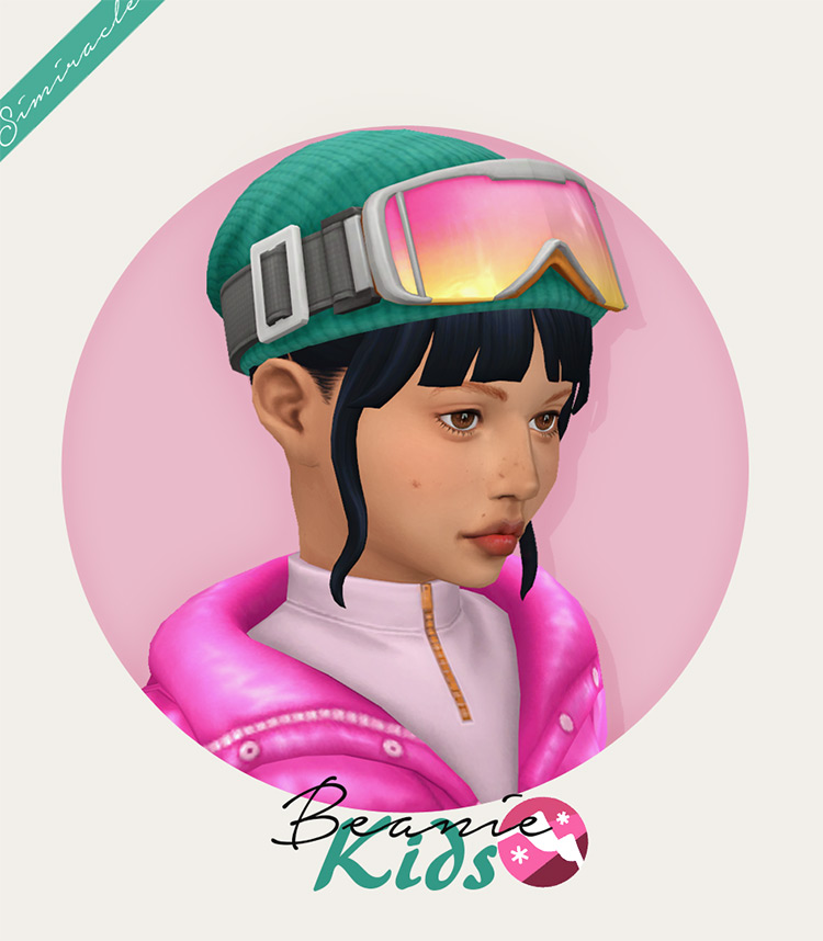 Beanie With Goggles - Kids Version Sims 4 CC