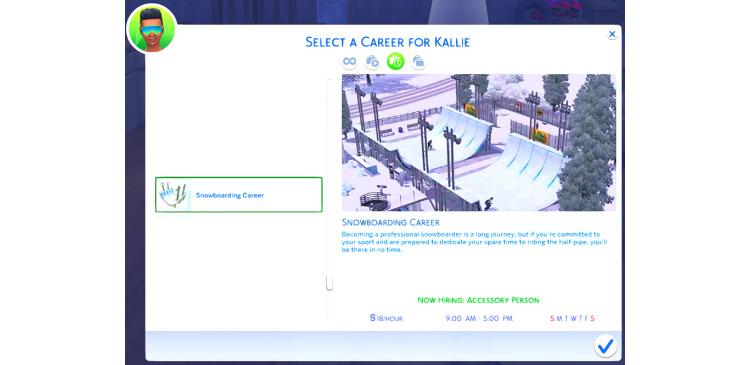 Snowboarding Career Sims 4 CC