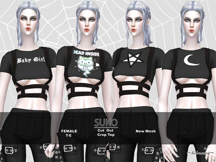 Cut-out cutoff top CC for The Sims 4