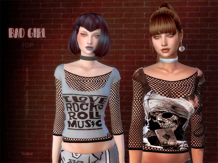 Custom badgirl top CC for The Sims 4