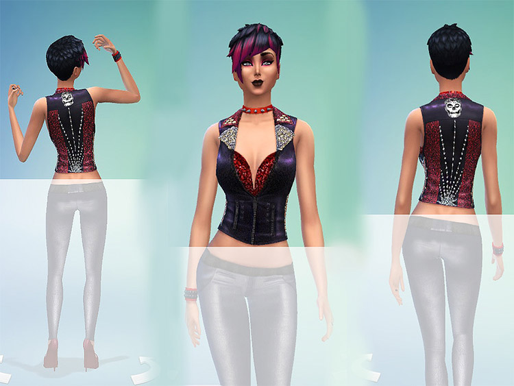 Bad girl rockstar vest CC for The Sims 4