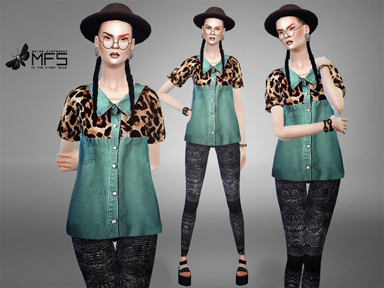 Hipster-style jean jacket CC for Sims 4