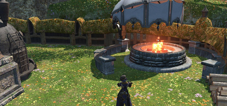 FFXIV Character Outdoors with a fire