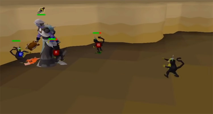 Battling Monkeys with red chinchompa in Old School RuneScape