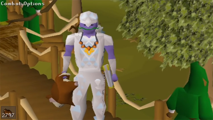Character equipped with red chinchompa in OSRS